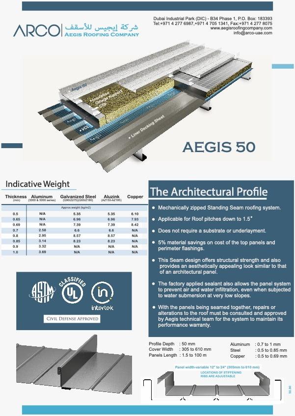 Aegis 50 roofing materials